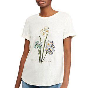 Flower Graphic Linen Blend Jersey T-shirt Top 2X